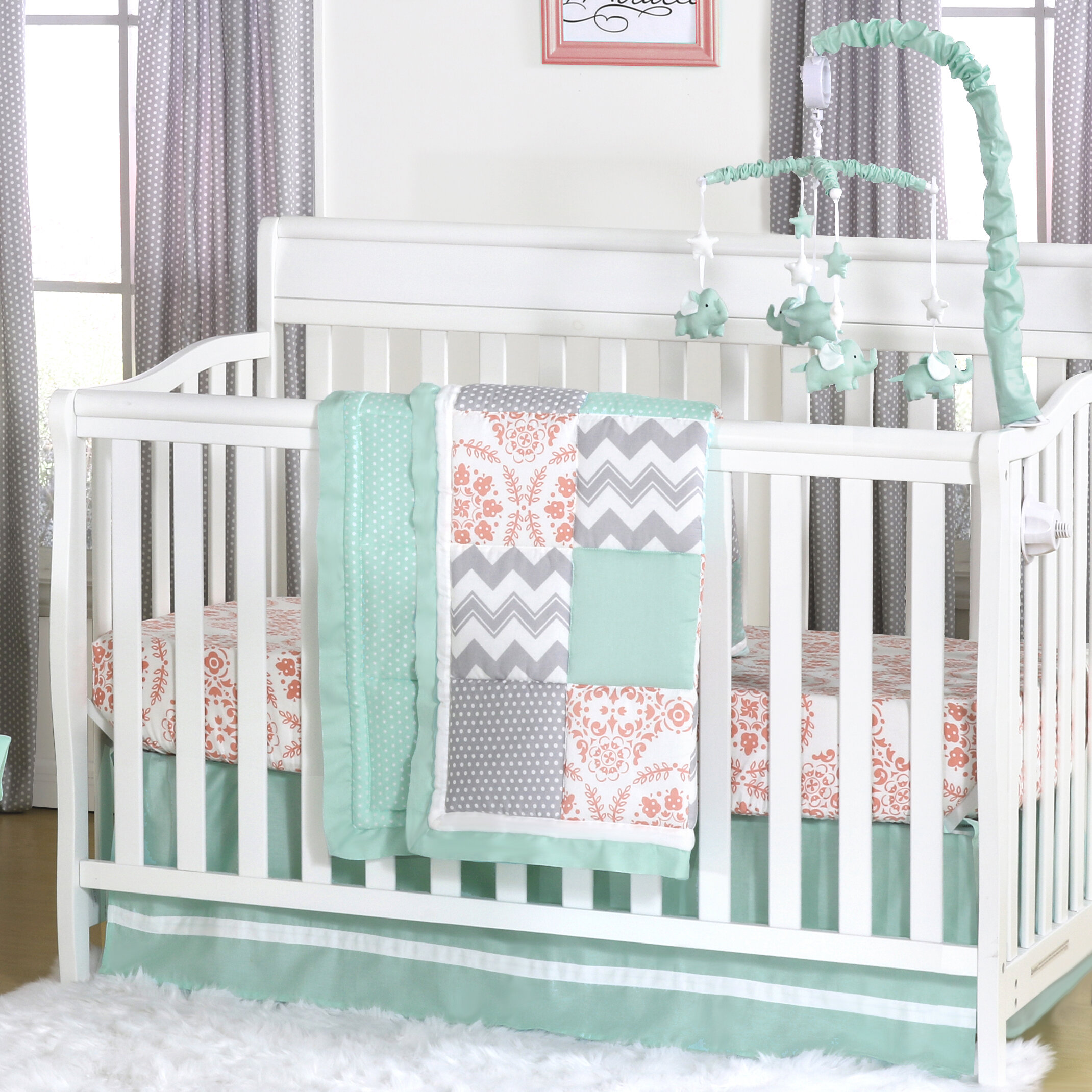White Tailored Crib Skirt with Coral Pink /& Mint Green Trim by The Peanut Shell