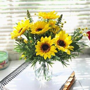 silk sunflower arrangement wayfair rh wayfair com silk flowers centerpieces silk flowers centerpieces diy