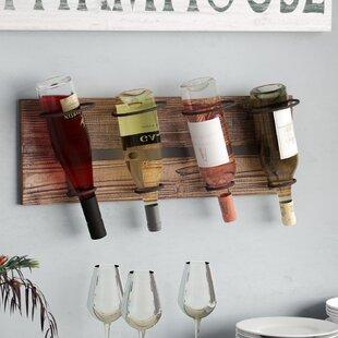 Laurel Foundry Modern Farmhouse Schumann 4 Bottle Wall Mounted Wine Rack