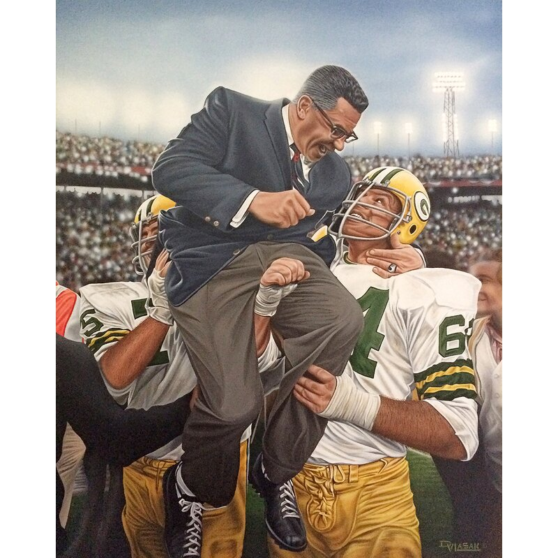 3c996862 'Vince Lombardi Green Bay Packers Coach' by Darryl Vlasak Painting Print on  Wrapped Canvas