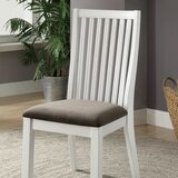 Gagne Slat Back Side Chair in White/Gray (Set of 2) by Rosecliff Heights