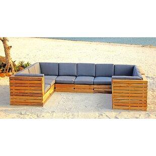 Trijaya Living Seaside 9 Piece Teak Sunbrella Sectional Set with Cushions
