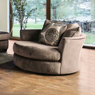 Latitude Run Lavelle Round Shaped Fabric Wood Swivel Armchair