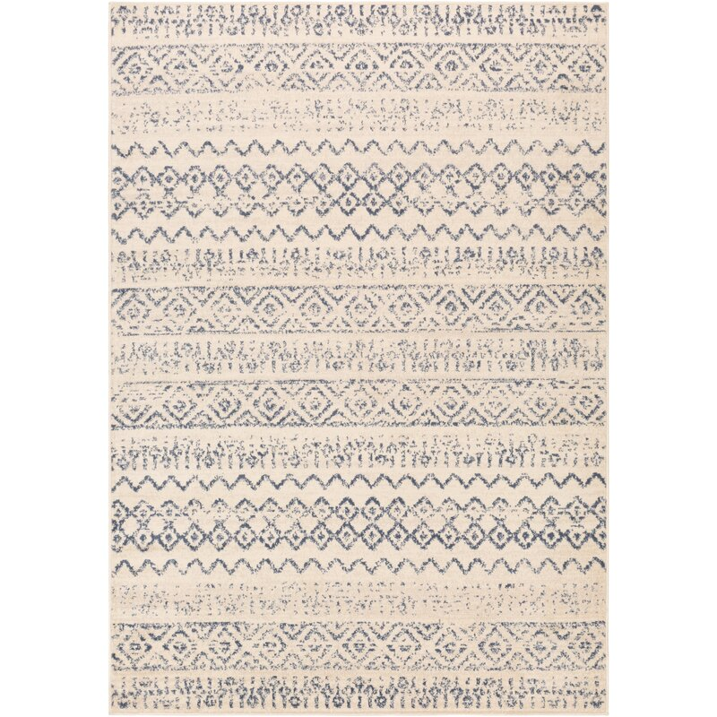 Woolverton Distressed Global-Inspired Denim/Wheat Area Rug