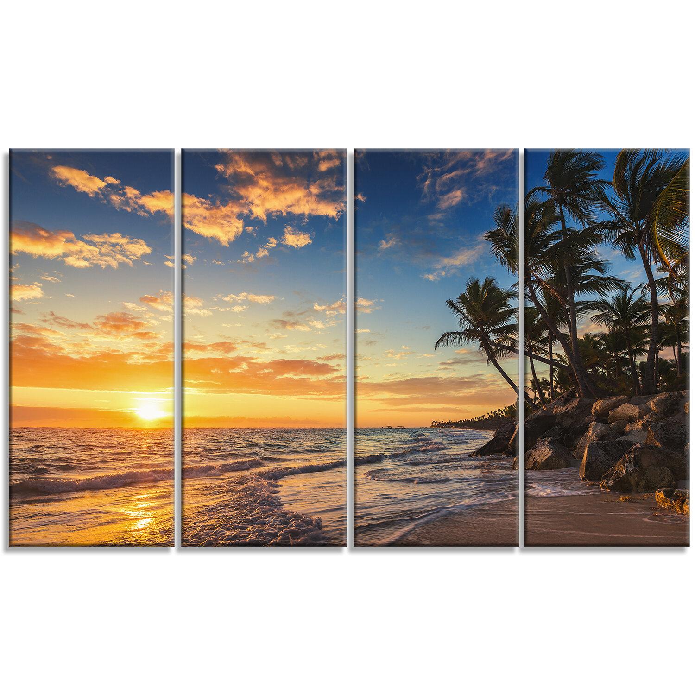 Tropical Island Paradise: DesignArt 'Paradise Tropical Island Beach With Palms' 4