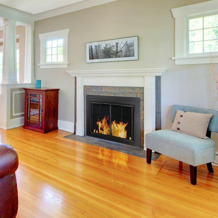 Pleasant Hearth Ascot Fireplace Screen and Bi-Fold Track-Free ...