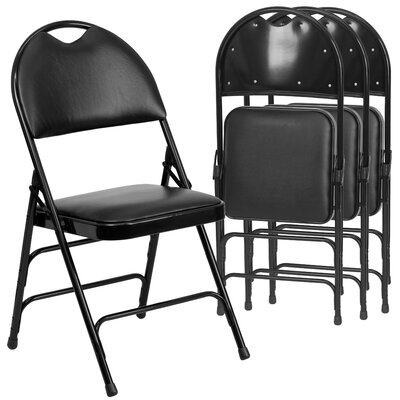 Symple Stuff Laduke Vinyl Padded Folding Chair