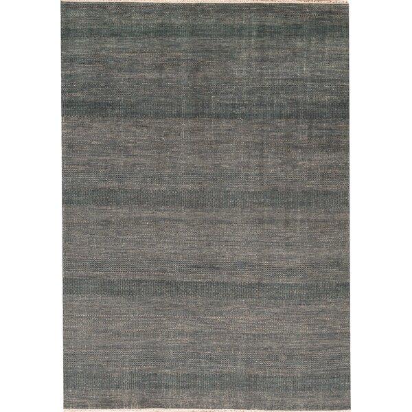 Bokara Rug Co Inc Striped Hand Knotted Wool Green Charcoal Area Rug Wayfair