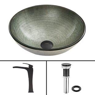 VIGO Simply Silver Glass Circular Vessel Bathroom Sink with Faucet
