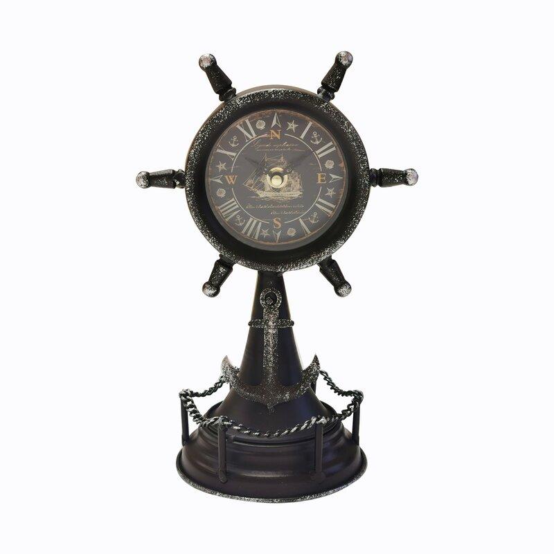 Breakwater Bay Coastal Analog Metal Quartz Tabletop Clock In Black Wayfair