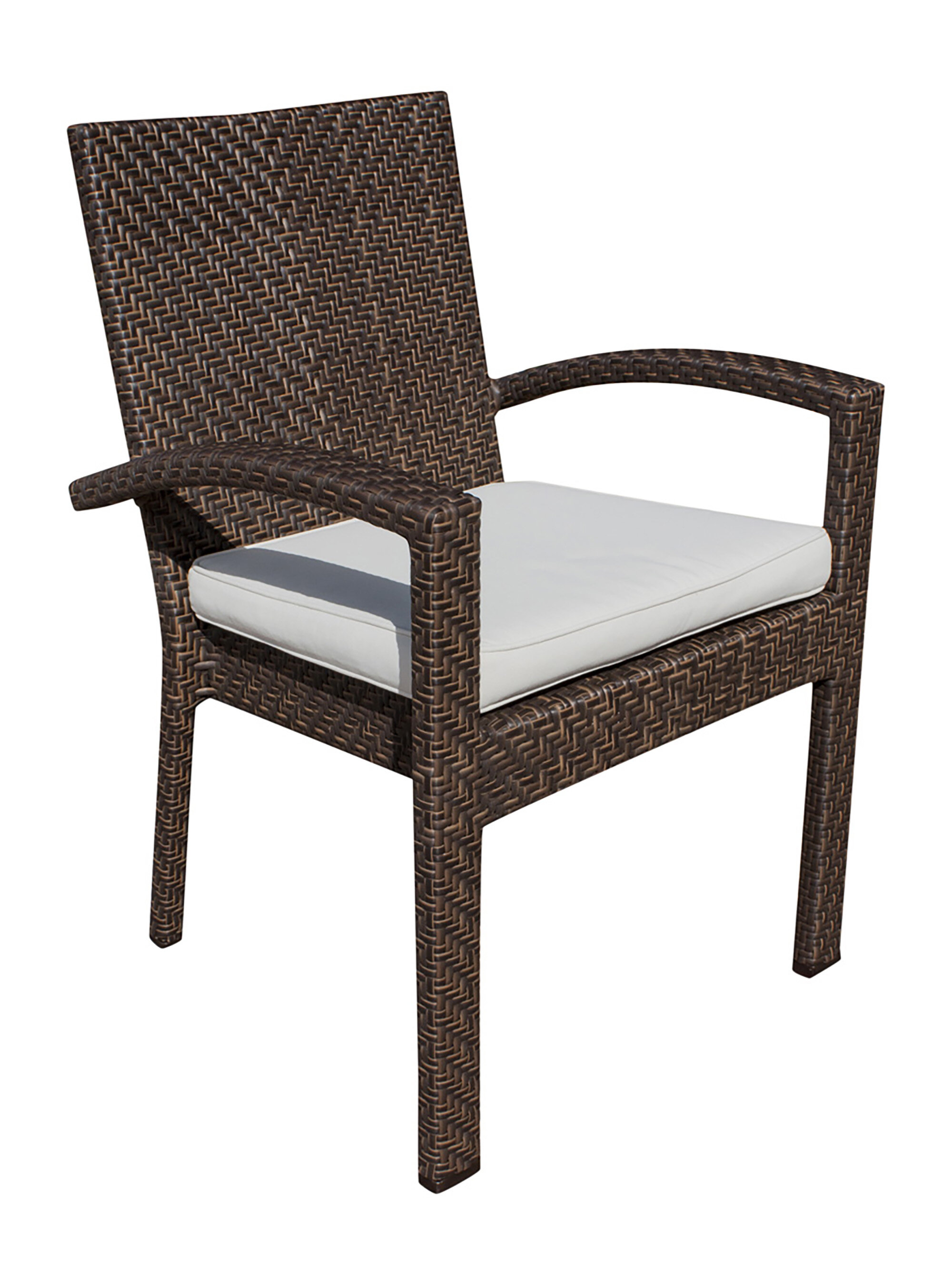 Andover mills ferraro stacking patio dining chair with cushion wayfair