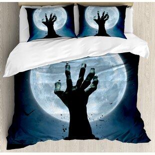 Halloween Zombie Earth Soil Full Moon Bat Horror Story October Twilight Themed Duvet Set by Ambesonne