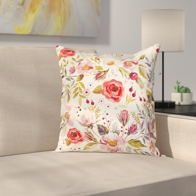 Modern Fl 16 Square Pillow Cover With Zipper