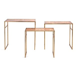 Wiese Wood and Metal Crafted 3 Piece Nesting Tables by Mercer41