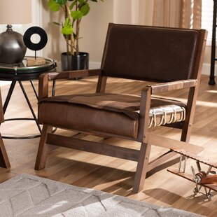 Phoenix Faux Leather Upholstered Wood Lounge Chair