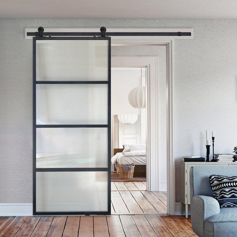 Barndoorz French Glass Barn Door With Installation Hardware Kit Wayfair