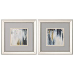Blue and Brown Paysage 2 Piece Framed Painting Print Set