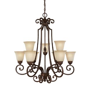 Fleur De Lis Living Byington 9-Light Shaded Chandelier