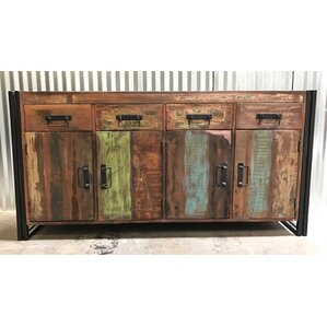 Old Reclaimed Wood and Iron 4 Door 4 Drawer Sideboard by Timbergirl