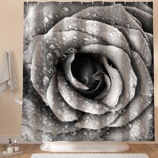 Aniyah Retro Romance Rose Petal Shower Curtain