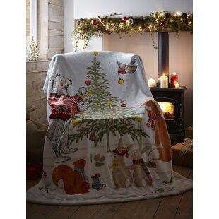 Christmas Tree Blanket Super Soft Sherpa Fleece Festive Xmas Throw 130cm x 170cm