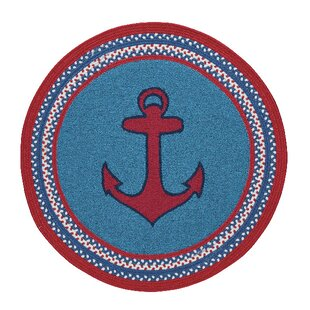 Wieland Maritime Anchor Hand-Braided Blue Rug by Breakwater Bay