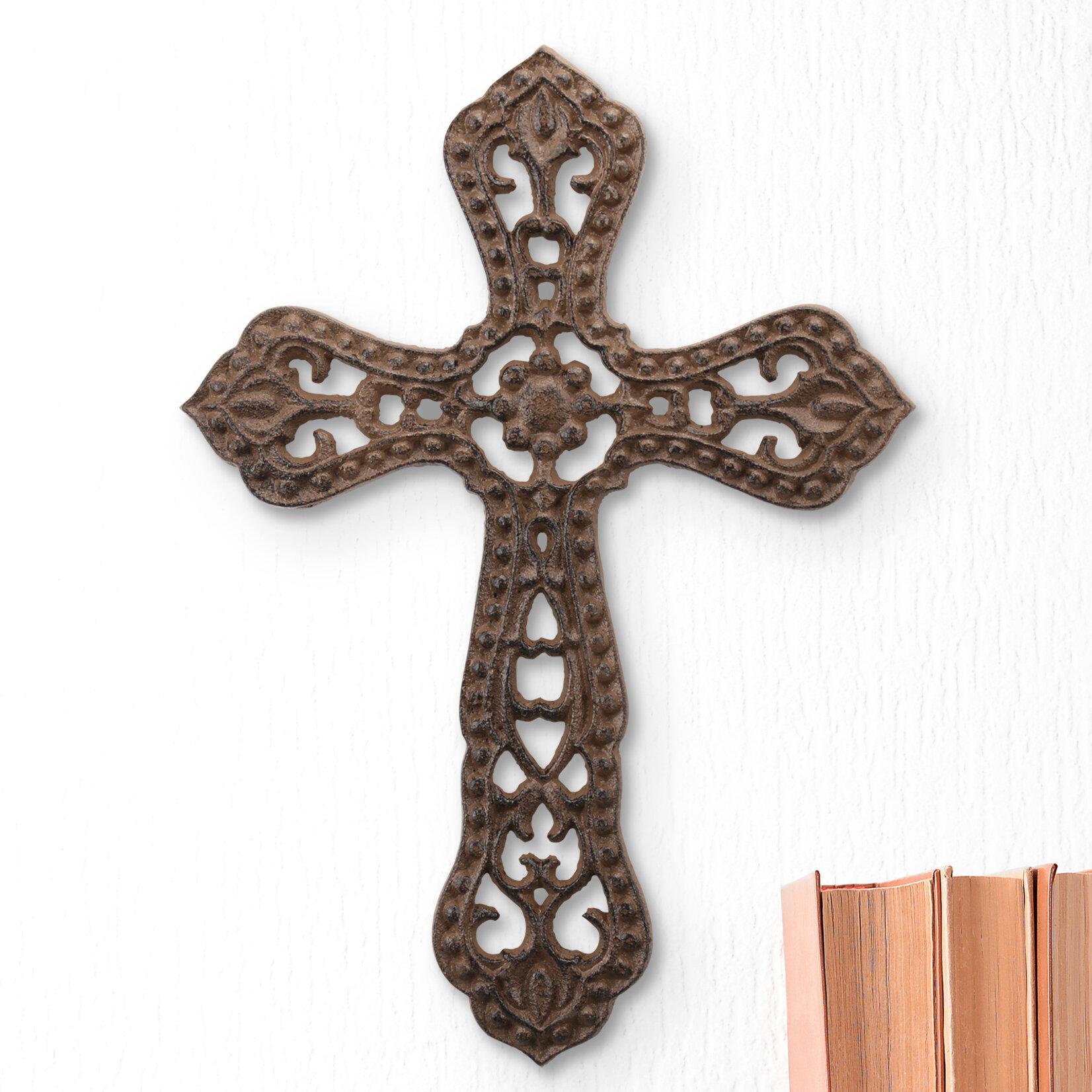 Large Rustic Flower Cast Metal Cross Wall Décor Reviews Wayfair