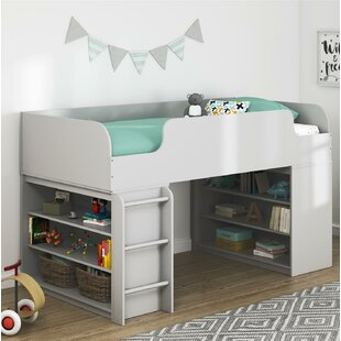 Amak Twin Low Loft Bed with Drawers and Ladder and Bookcase