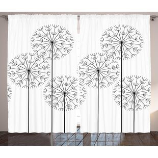 Birkland Floral Graphic Print & Text Semi-Sheer Rod Pocket Curtain Panels (Set of 2) by Latitude Run