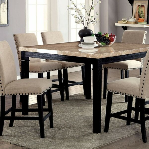 Darby Home Co Arick Square Marble Top Counter Height Dining Table Wayfair