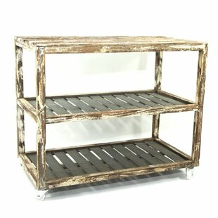 Gracie Oaks Wooden and Zinc Shoe Rack