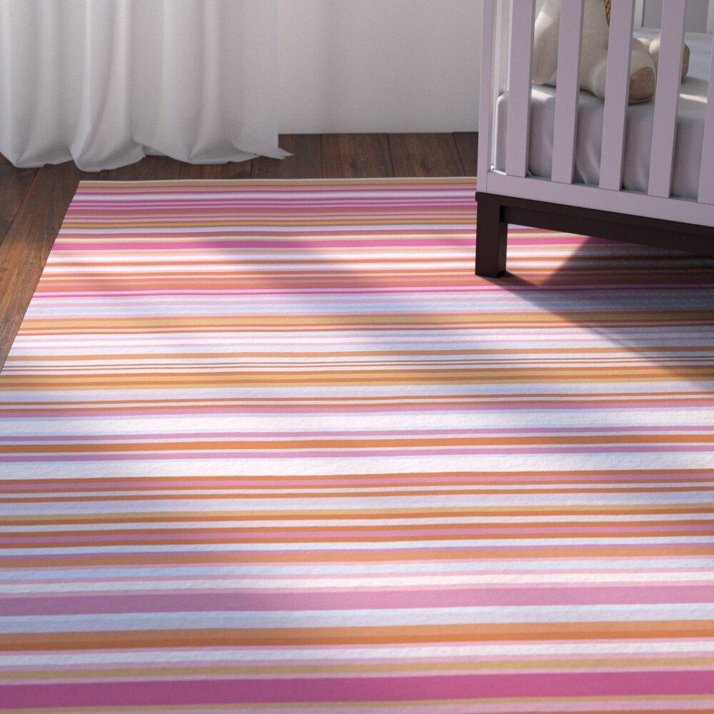 Viv Rae Javonte Striped Handloomed Wool Pink Orange Mint Area Rug Wayfair