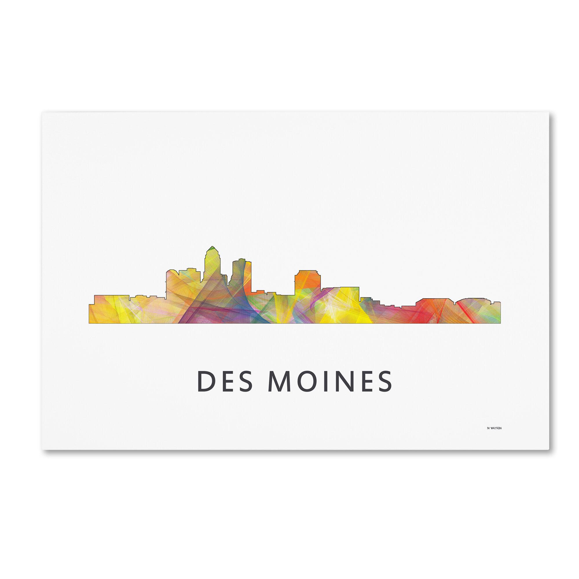 Trademark Art Des Moines Iowa Skyline Wb 1 Graphic Art