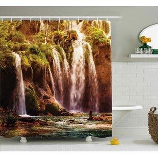 Nature Waterfall Forest Trees Single Shower Curtain