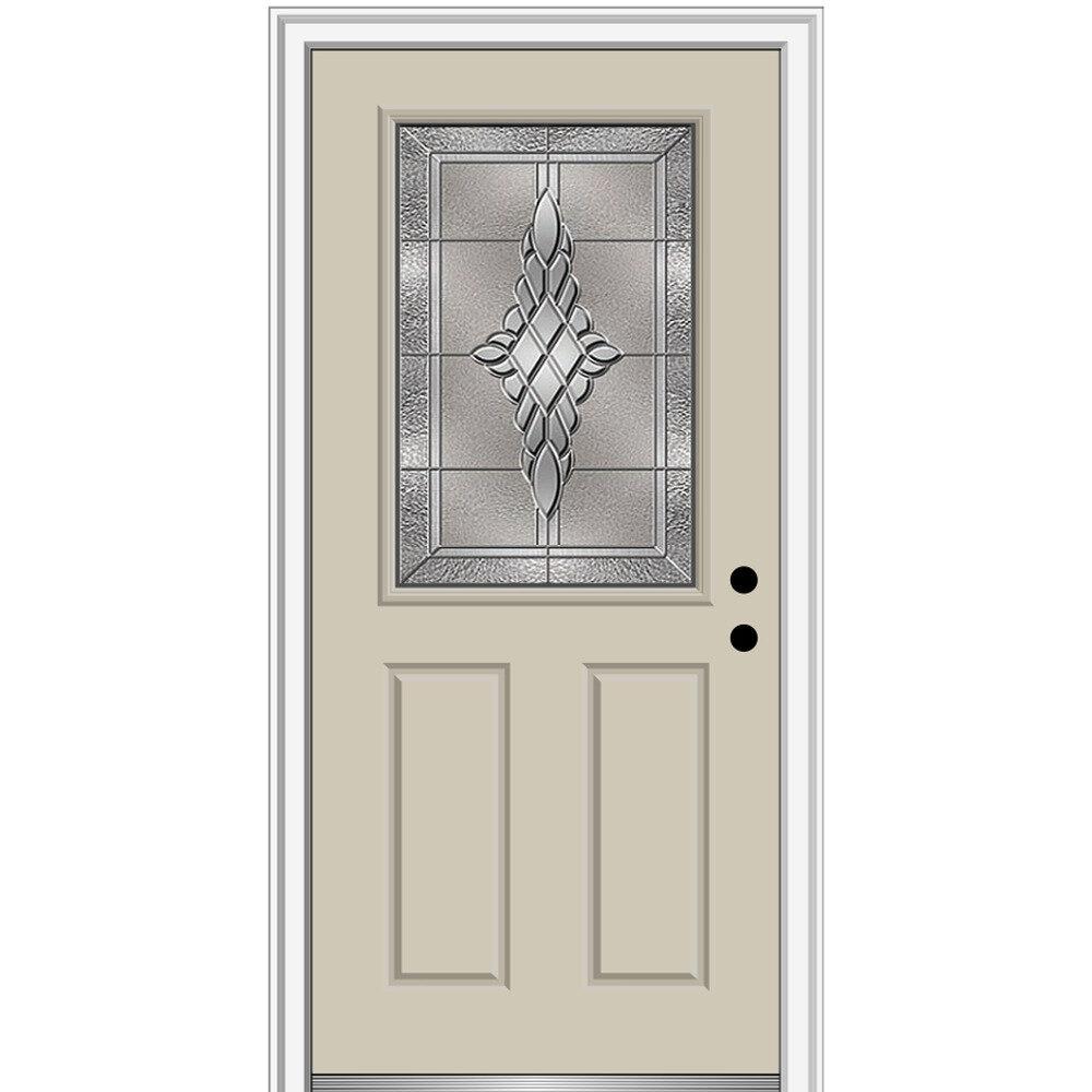 Verona Home Design Grace Painted Both Sides Different 1 2 Lite 2 Panel Fiberglass Prehung Front Entry Door On 6 9 16 Frame Wayfair