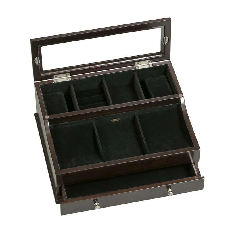 Mele Co Hampden Men S Glass Top Wooden Dresser Top Valet Jewelry