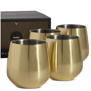 12 oz. Stainless Steel Stemless Wine Glass (Set of 4)