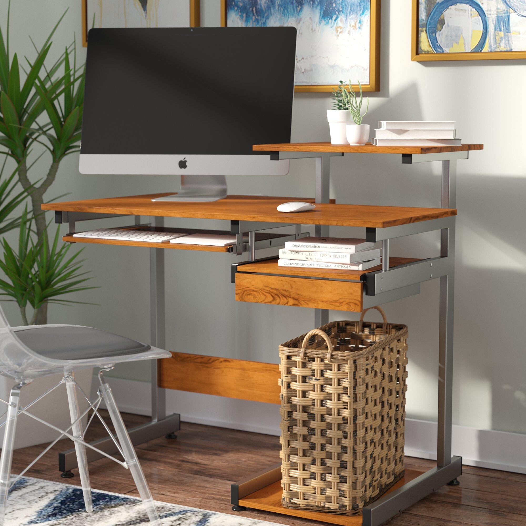 Velia Compact Computer Desk With Hutch