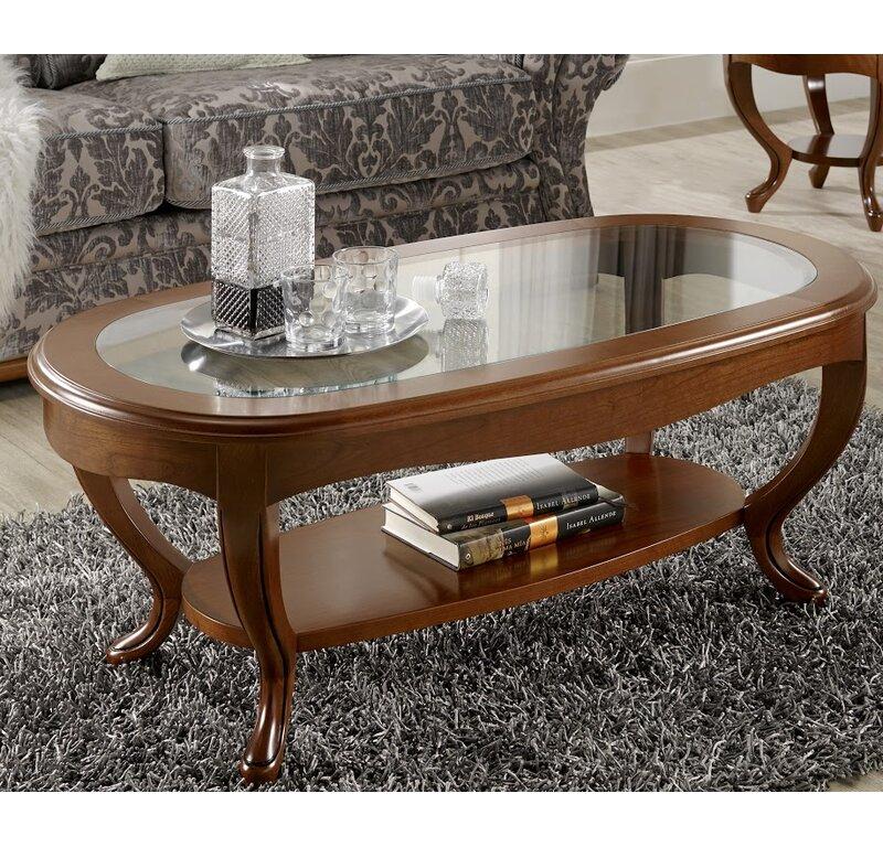 Canora Grey Royce Oval Glass Top Coffee Table Wayfair