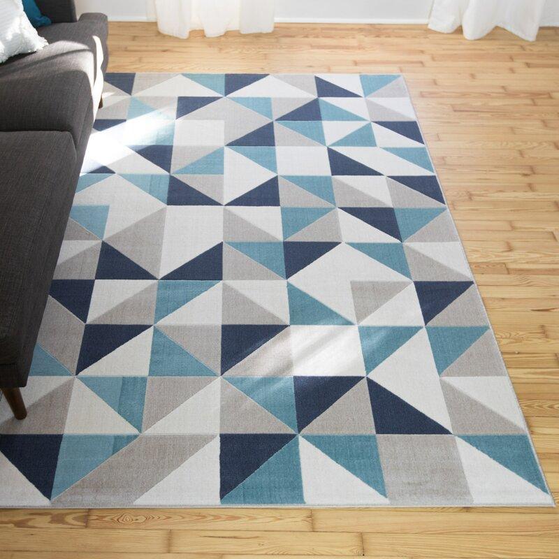 Wrought Studio Anacortes Geometric Teal Area Rug Wayfair
