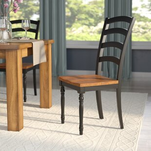 Courtdale Ladder Back Solid Wood Dining Chair (Set of 2) Three Posts