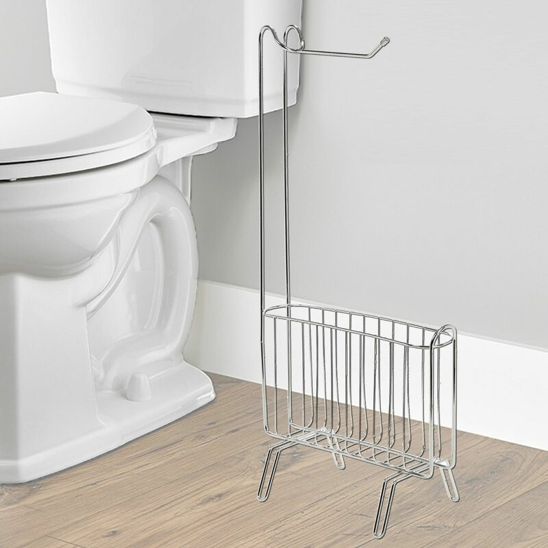 Symple Stuff Free Standing Toilet Roll Holder Stand With Magazine Rack Wayfair Co Uk