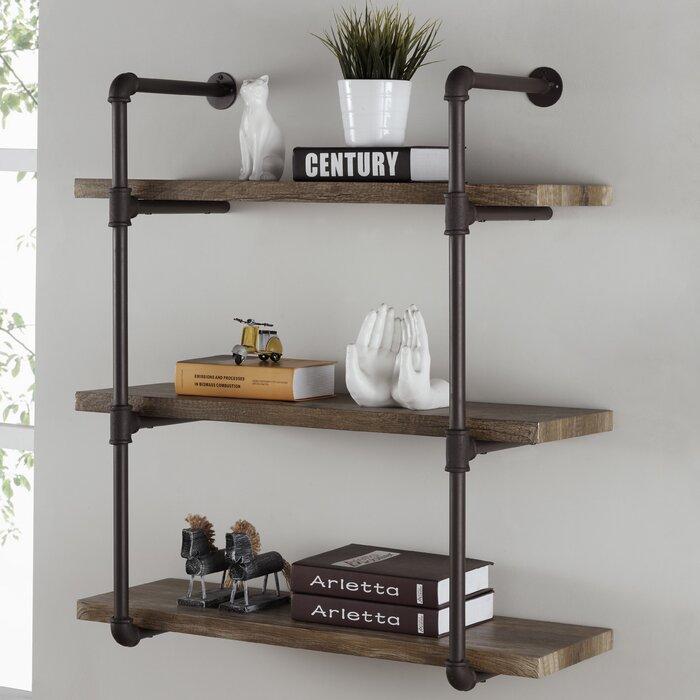 simonne 3 tier industrial pipe wall shelf