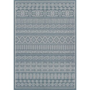 Rosado Weather-Proof Blue Indoor/Outdoor Area Rug