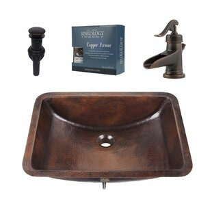 Order Curie Metal Rectangular Undermount Bathroom Sink with Faucet By Sinkology