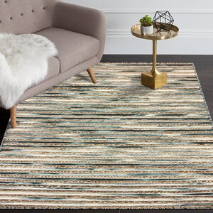 Vitagliano Slate Striped Hand-Tufted Gray/Beige Area Rug