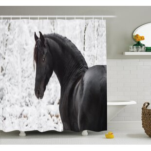 Everalda Snowy Winter Scenery Single Shower Curtain