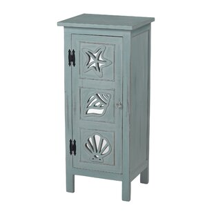 Highland Dunes Caufield Mirrored Seashell Accent Cabinet