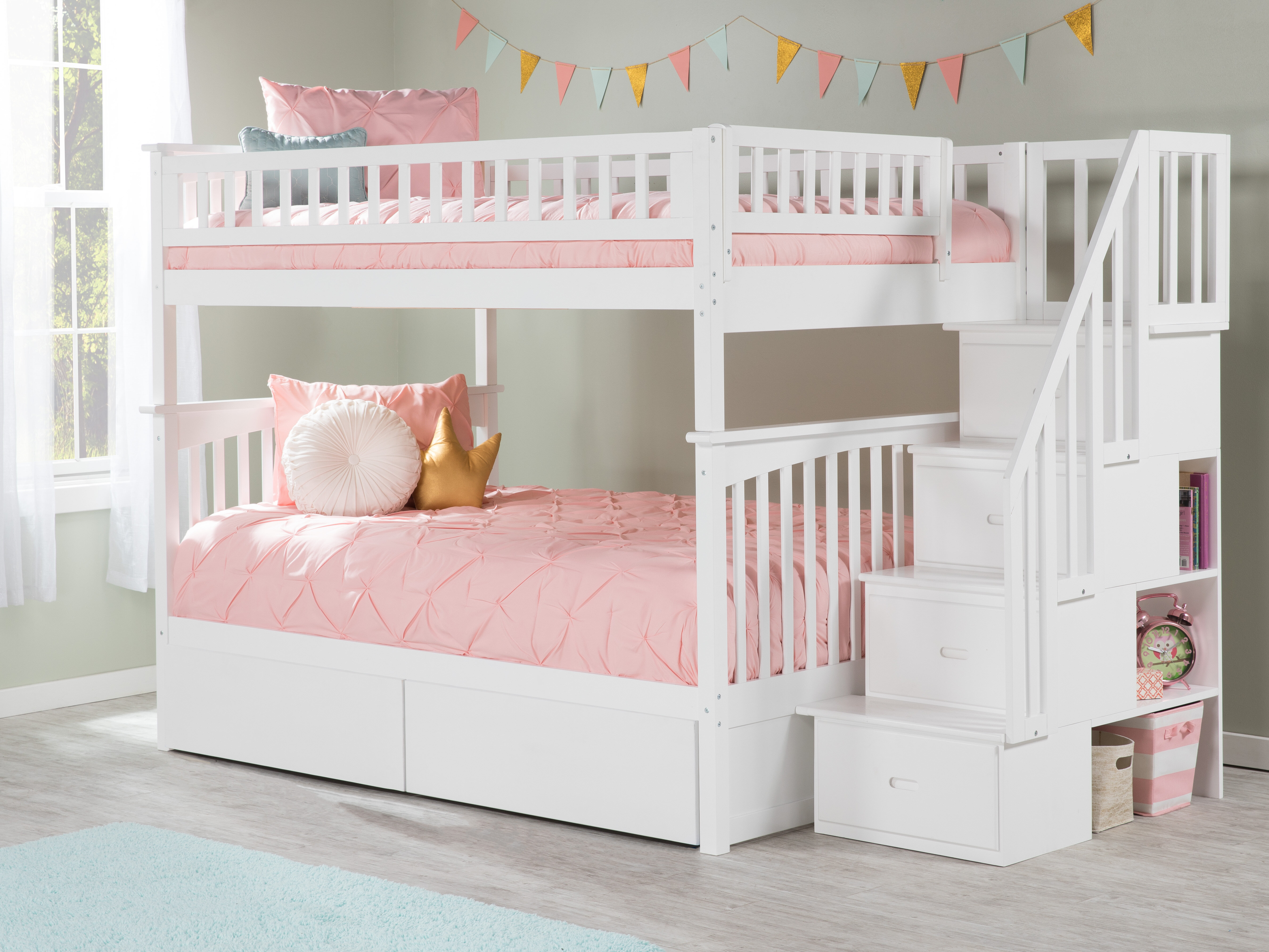 Harriet Bee Abel Staircase Full Over Full Bunk Bed & Reviews | Wayfair