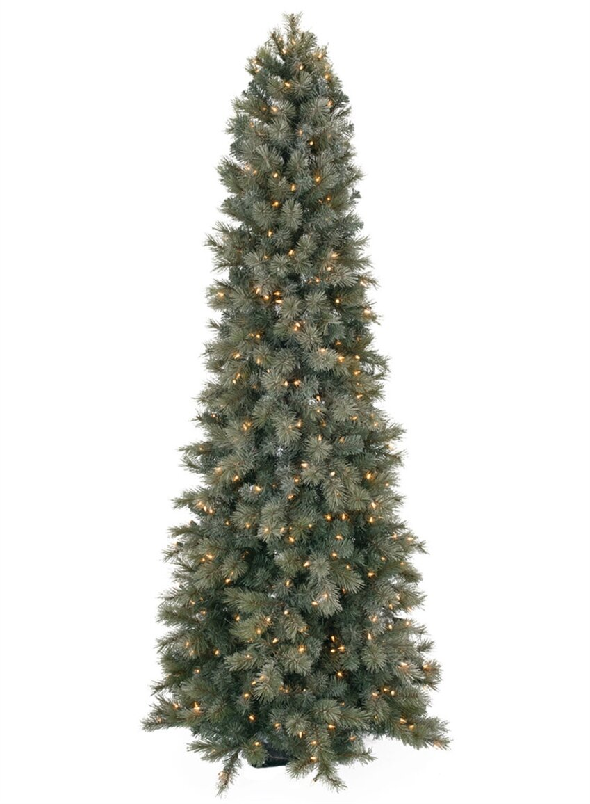 Slim Christmas Trees.Frosted Slim 7 5 Green Pine Artificial Christmas Tree With 450 Clear White Lights